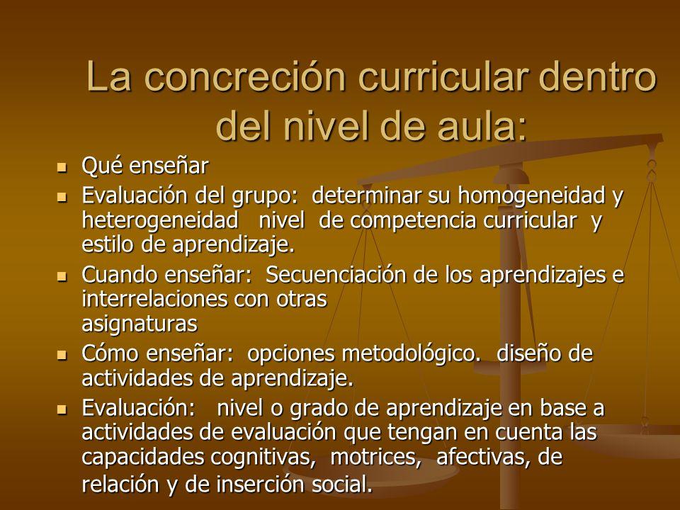La concreción curricular dentro del nivel de aula: Qué enseñar Qué enseñar Evaluación del grupo: determinar su homogeneidad y heterogeneidad nivel de