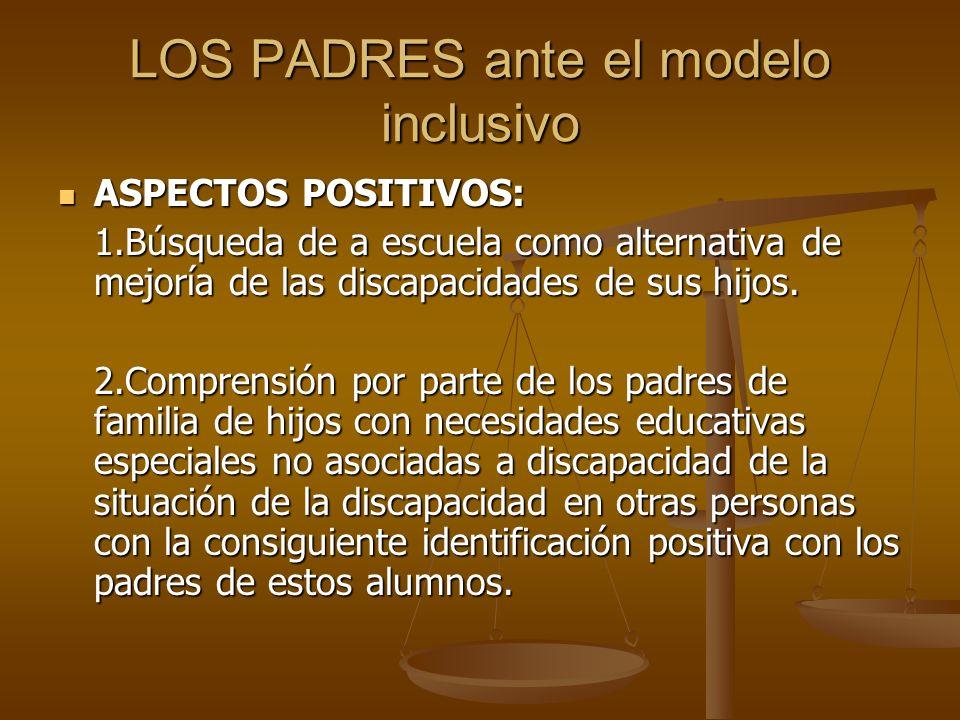 LOS PADRES ante el modelo inclusivo ASPECTOS POSITIVOS: ASPECTOS POSITIVOS: 1.Búsqueda de a escuela como alternativa de mejoría de las discapacidades