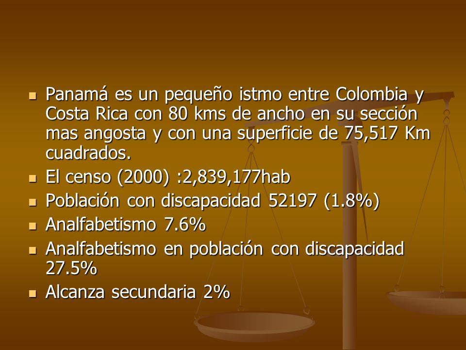 Panamá es un pequeño istmo entre Colombia y Costa Rica con 80 kms de ancho en su sección mas angosta y con una superficie de 75,517 Km cuadrados. Pana