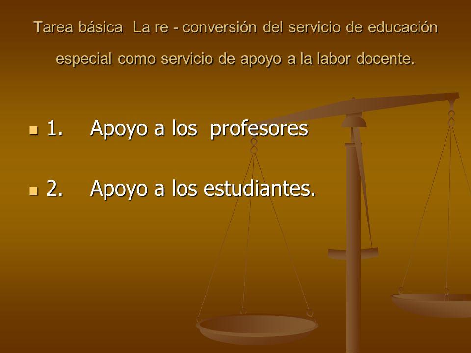 Tarea básica La re - conversión del servicio de educación especial como servicio de apoyo a la labor docente. 1. Apoyo a los profesores 1. Apoyo a los