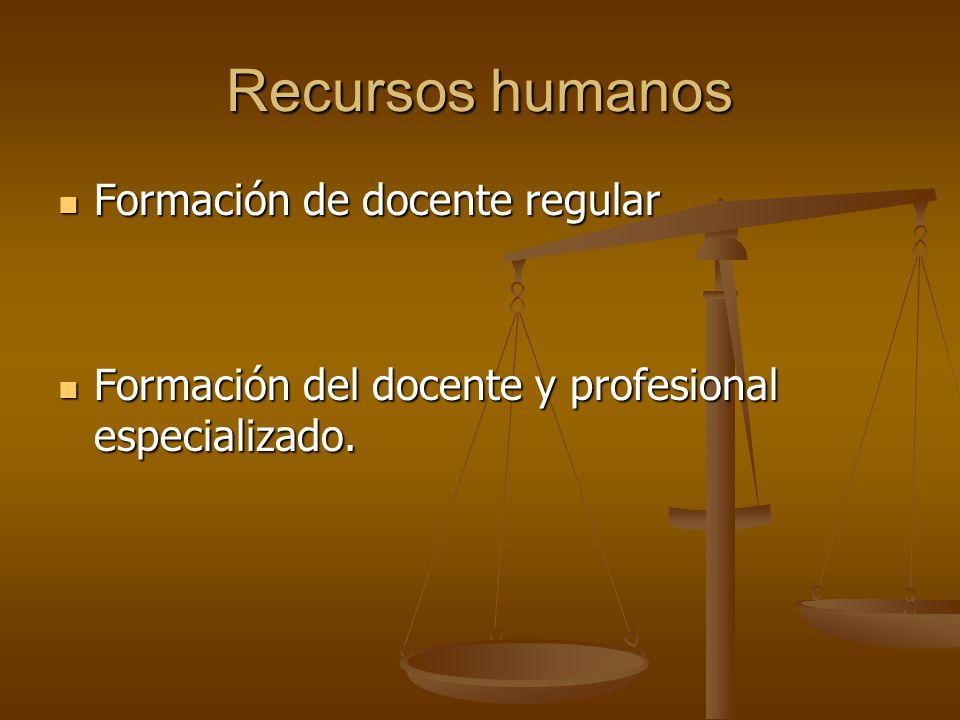 Recursos humanos Formación de docente regular Formación de docente regular Formación del docente y profesional especializado. Formación del docente y
