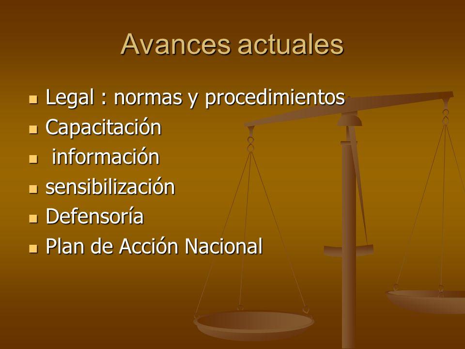 Avances actuales Legal : normas y procedimientos Legal : normas y procedimientos Capacitación Capacitación información información sensibilización sen
