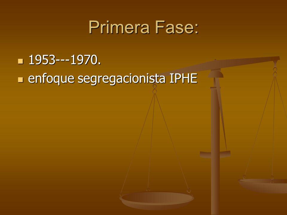 Primera Fase: 1953---1970. 1953---1970. enfoque segregacionista IPHE enfoque segregacionista IPHE