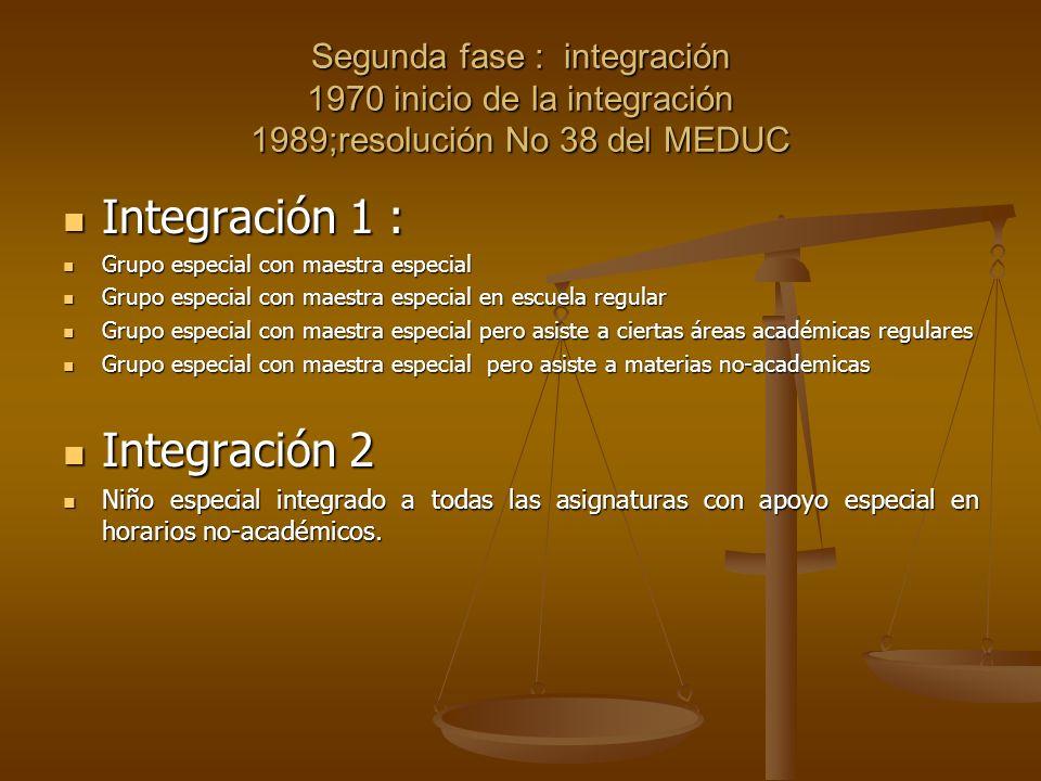 Segunda fase : integración 1970 inicio de la integración 1989;resolución No 38 del MEDUC Integración 1 : Integración 1 : Grupo especial con maestra es
