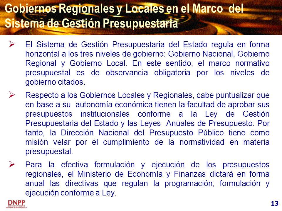 13 Gobiernos Regionales y Locales en el Marco del Sistema de Gestión Presupuestaria El Sistema de Gestión Presupuestaria del Estado regula en forma ho