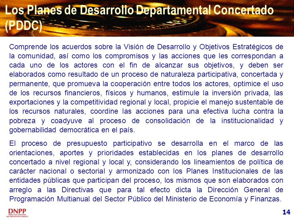 14 Los Planes de Desarrollo Departamental Concertado (PDDC) Comprende los acuerdos sobre la Visión de Desarrollo y Objetivos Estratégicos de la comuni