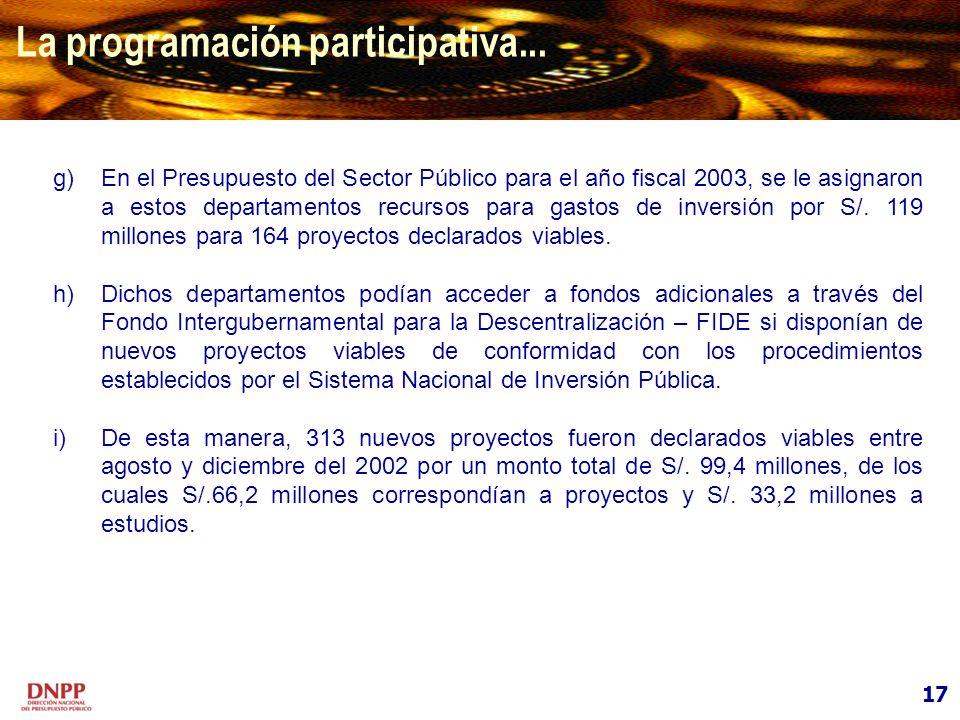 17 La programación participativa... g)En el Presupuesto del Sector Público para el año fiscal 2003, se le asignaron a estos departamentos recursos par