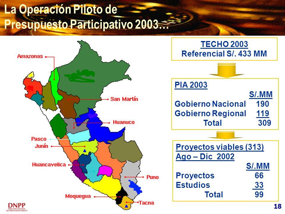 La Operación Piloto de Presupuesto Participativo 2003… 18 TECHO 2003 Referencial S/. 433 MM PIA 2003 S/.MM Gobierno Nacional 190 Gobierno Regional 119