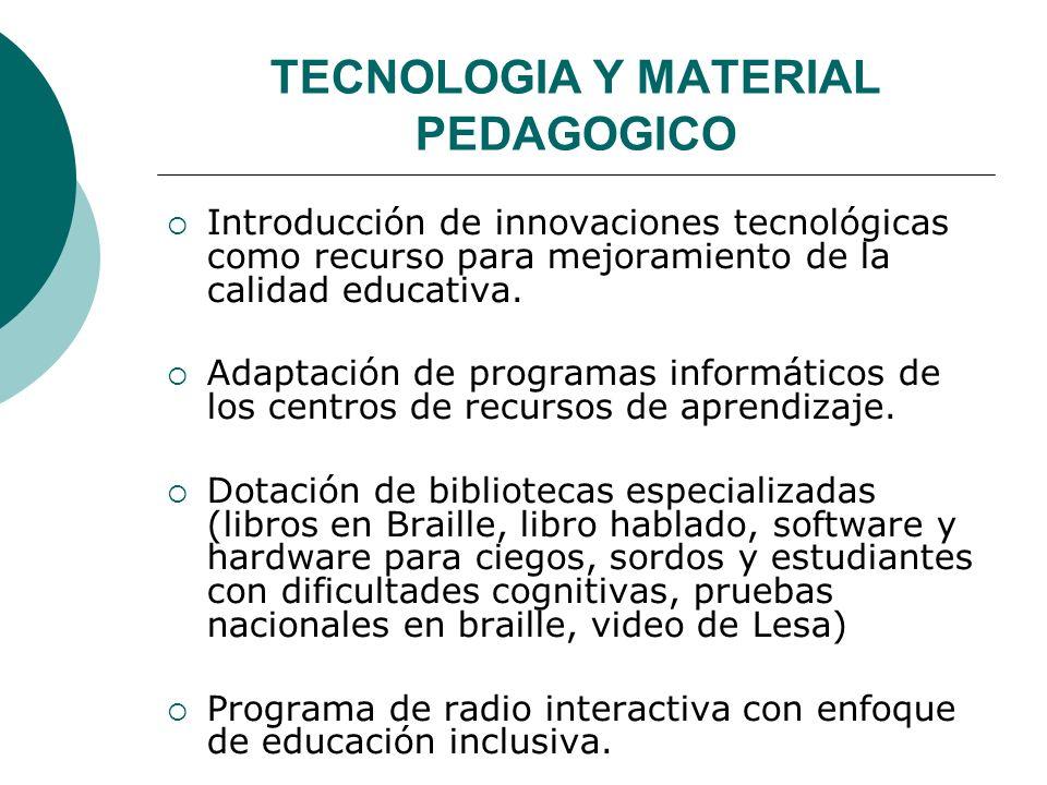 TECNOLOGIA Y MATERIAL PEDAGOGICO Introducción de innovaciones tecnológicas como recurso para mejoramiento de la calidad educativa. Adaptación de progr
