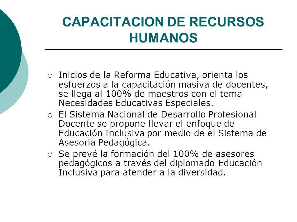 CAPACITACION DE RECURSOS HUMANOS Inicios de la Reforma Educativa, orienta los esfuerzos a la capacitación masiva de docentes, se llega al 100% de maestros con el tema Necesidades Educativas Especiales.