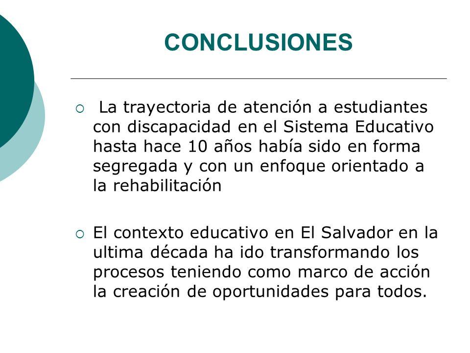 CONCLUSIONES La trayectoria de atención a estudiantes con discapacidad en el Sistema Educativo hasta hace 10 años había sido en forma segregada y con un enfoque orientado a la rehabilitación El contexto educativo en El Salvador en la ultima década ha ido transformando los procesos teniendo como marco de acción la creación de oportunidades para todos.