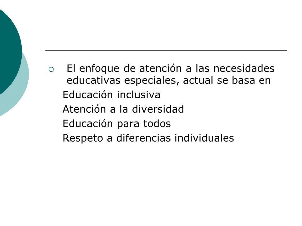 El enfoque de atención a las necesidades educativas especiales, actual se basa en Educación inclusiva Atención a la diversidad Educación para todos Respeto a diferencias individuales