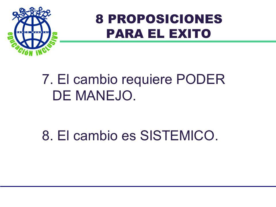 7. El cambio requiere PODER DE MANEJO. 8. El cambio es SISTEMICO. 8 PROPOSICIONES PARA EL EXITO
