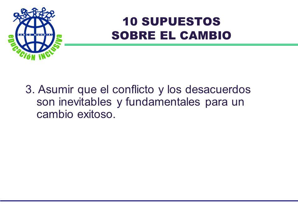 3. Asumir que el conflicto y los desacuerdos son inevitables y fundamentales para un cambio exitoso. 10 SUPUESTOS SOBRE EL CAMBIO