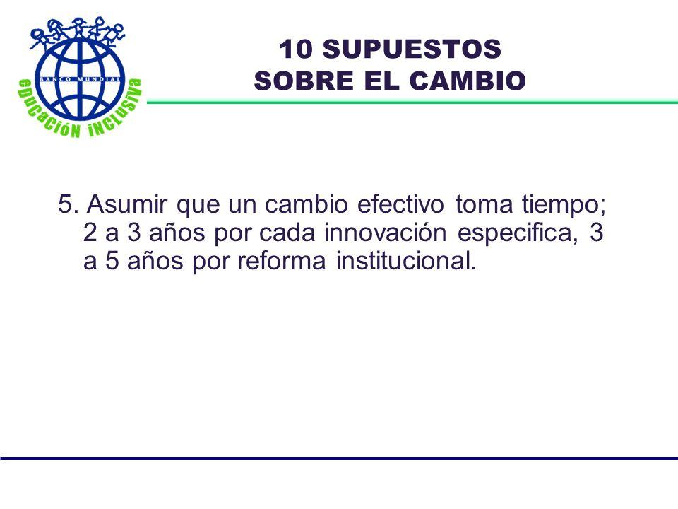 5. Asumir que un cambio efectivo toma tiempo; 2 a 3 años por cada innovación especifica, 3 a 5 años por reforma institucional. 10 SUPUESTOS SOBRE EL C