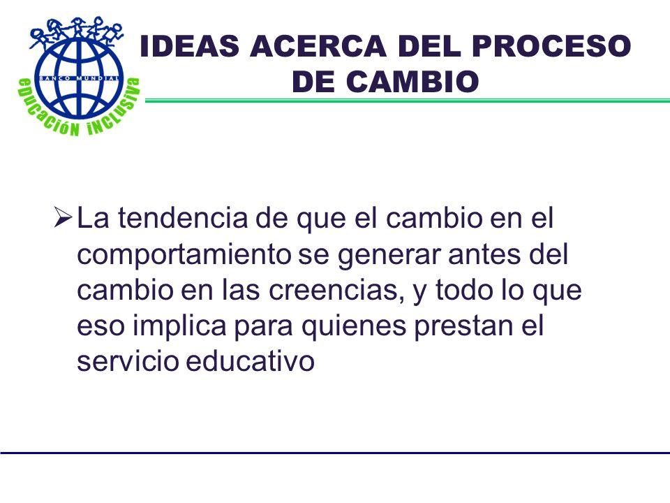 La tendencia de que el cambio en el comportamiento se generar antes del cambio en las creencias, y todo lo que eso implica para quienes prestan el servicio educativo IDEAS ACERCA DEL PROCESO DE CAMBIO