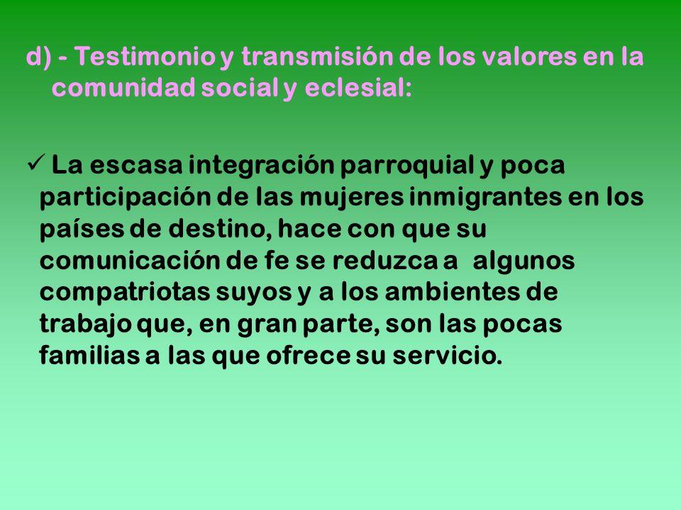 d) - Testimonio y transmisión de los valores en la comunidad social y eclesial: La escasa integración parroquial y poca participación de las mujeres i