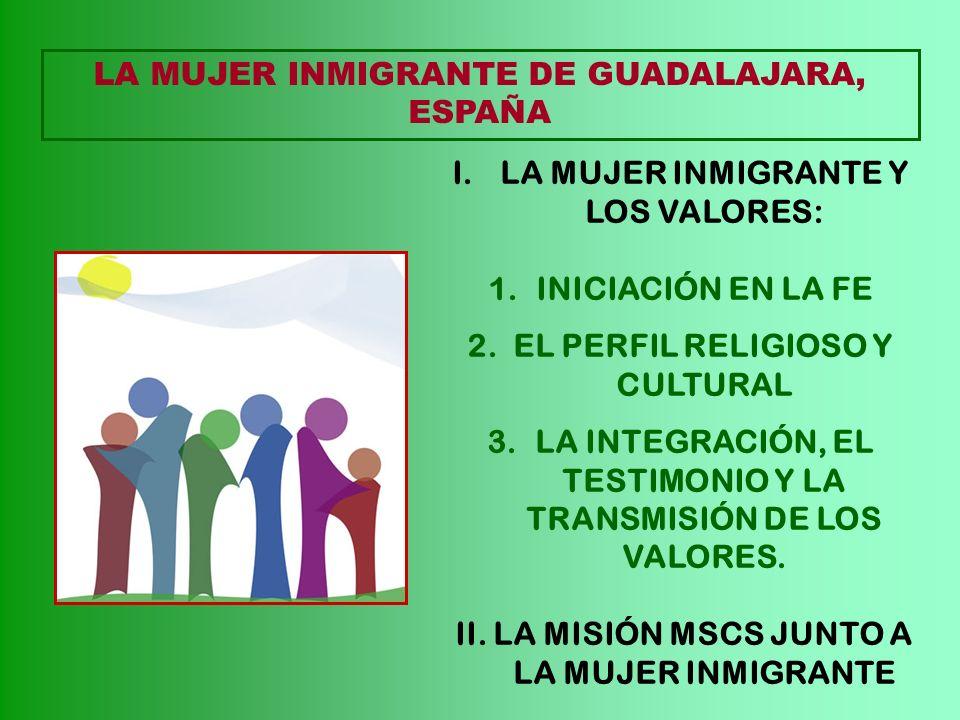 LA MUJER INMIGRANTE DE GUADALAJARA, ESPAÑA I.LA MUJER INMIGRANTE Y LOS VALORES: 1.INICIACIÓN EN LA FE 2. EL PERFIL RELIGIOSO Y CULTURAL 3.LA INTEGRACI