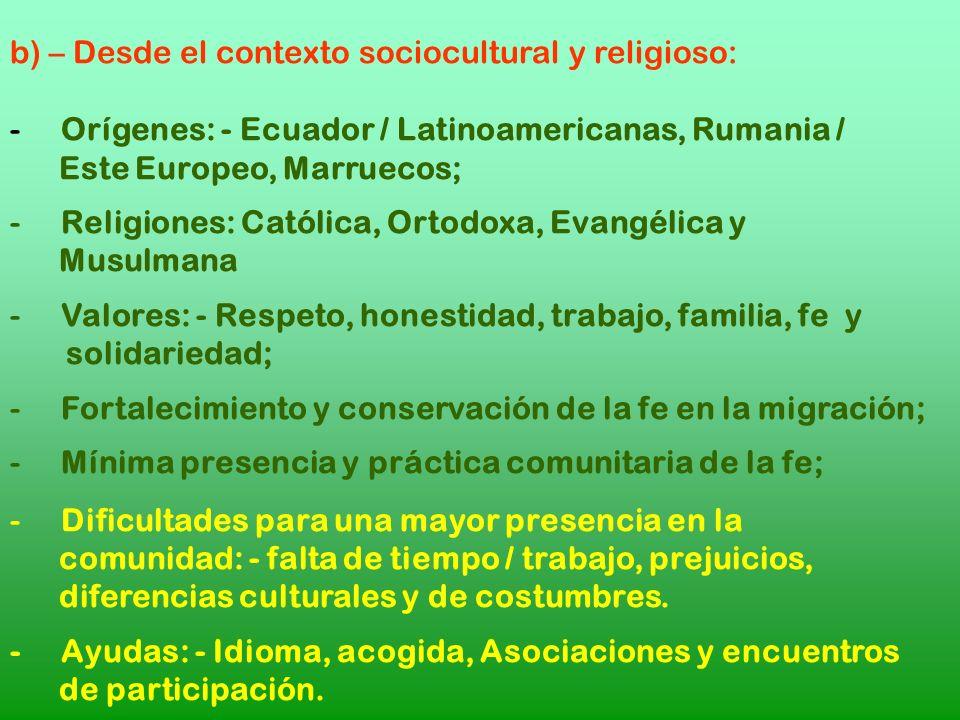 b) – Desde el contexto sociocultural y religioso: - Orígenes: - Ecuador / Latinoamericanas, Rumania / Este Europeo, Marruecos; - Religiones: Católica,