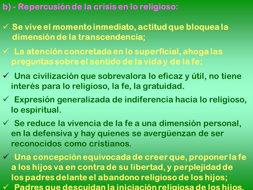 b) - Repercusión de la crisis en lo religioso: Se vive el momento inmediato, actitud que bloquea la dimensión de la transcendencia; La atención concre