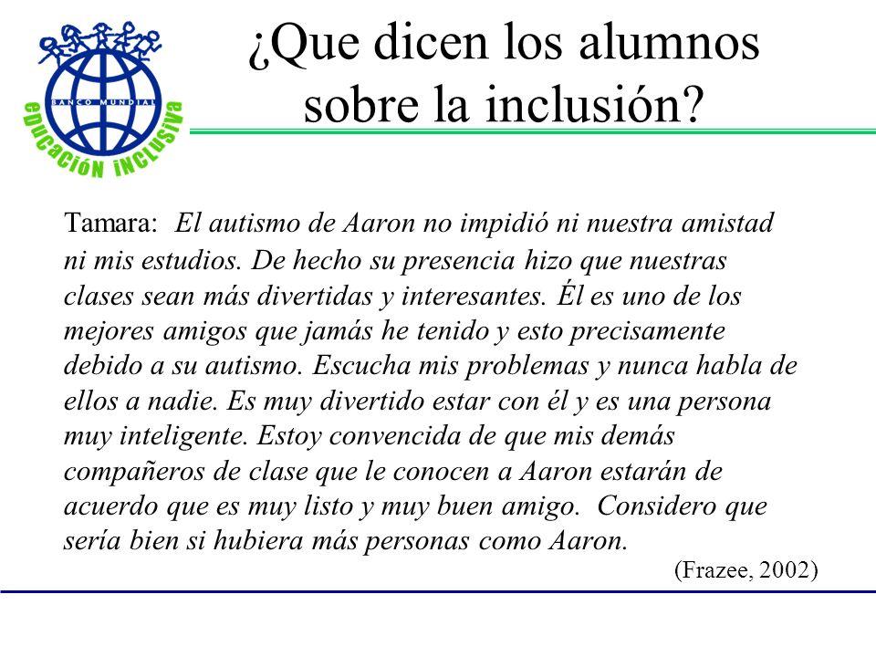 ¿Que dicen los alumnos sobre la inclusión.