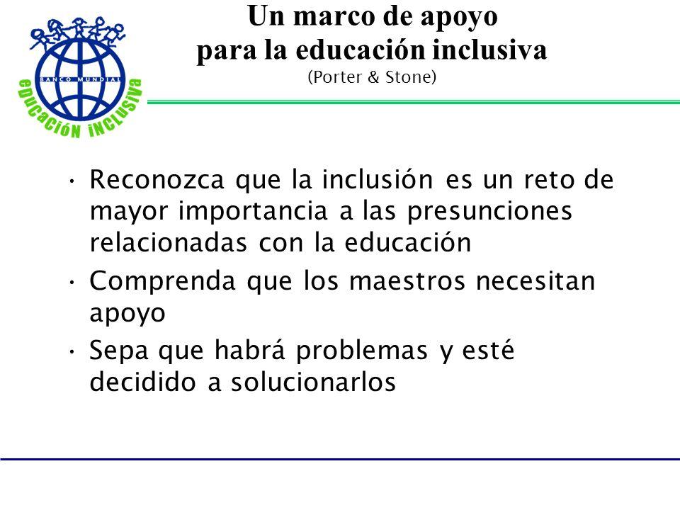 Un marco de apoyo para la educación inclusiva (Porter & Stone) Reconozca que la inclusión es un reto de mayor importancia a las presunciones relacionadas con la educación Comprenda que los maestros necesitan apoyo Sepa que habrá problemas y esté decidido a solucionarlos