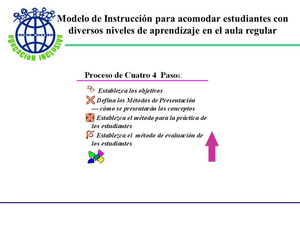 Modelo de Instrucción para acomodar estudiantes con diversos niveles de aprendizaje en el aula regular