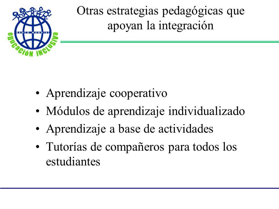 Otras estrategias pedagógicas que apoyan la integración Aprendizaje cooperativo Módulos de aprendizaje individualizado Aprendizaje a base de actividades Tutorías de compañeros para todos los estudiantes
