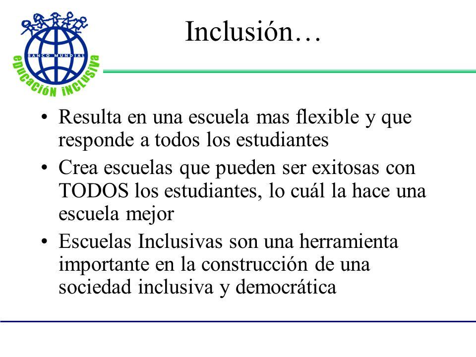 Inclusión… Resulta en una escuela mas flexible y que responde a todos los estudiantes Crea escuelas que pueden ser exitosas con TODOS los estudiantes, lo cuál la hace una escuela mejor Escuelas Inclusivas son una herramienta importante en la construcción de una sociedad inclusiva y democrática