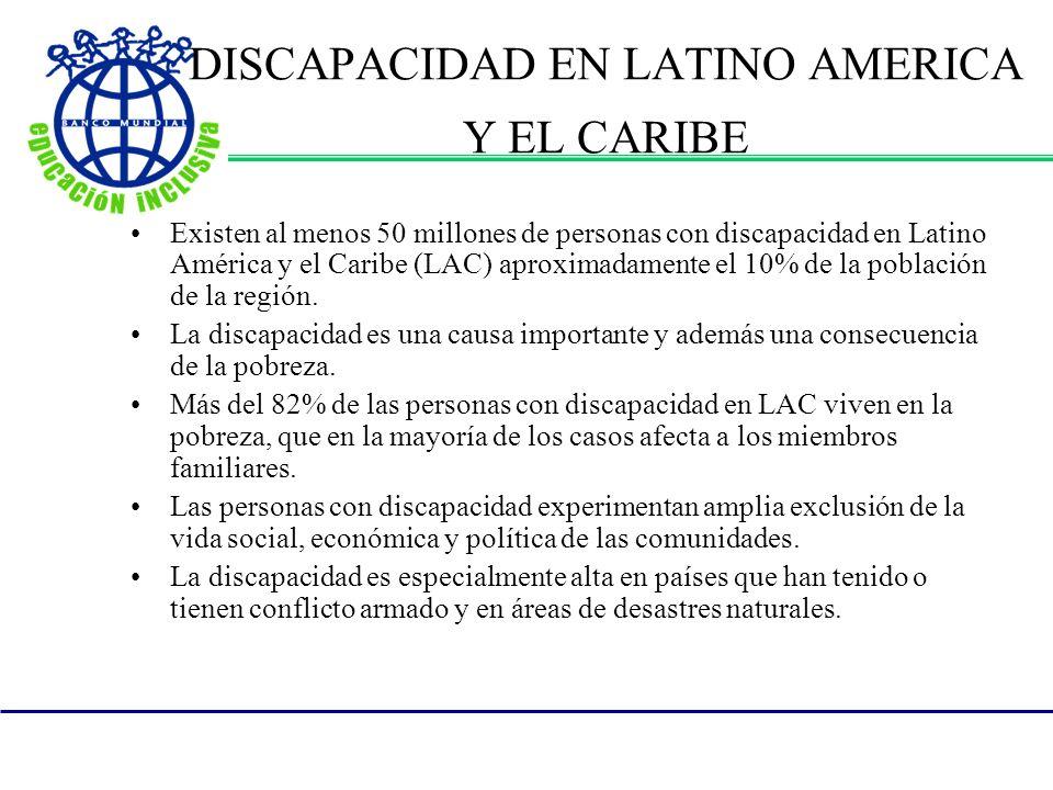 DISCAPACIDAD EN LATINO AMERICA Y EL CARIBE Existen al menos 50 millones de personas con discapacidad en Latino América y el Caribe (LAC) aproximadamente el 10% de la población de la región.