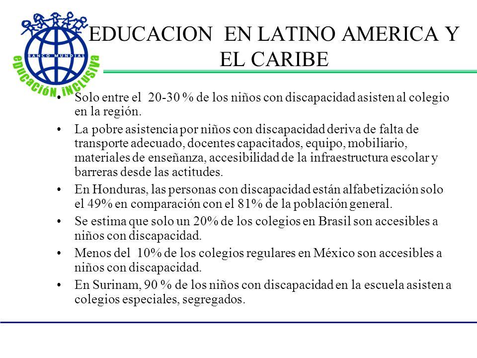 EDUCACION EN LATINO AMERICA Y EL CARIBE Solo entre el 20-30 % de los niños con discapacidad asisten al colegio en la región.