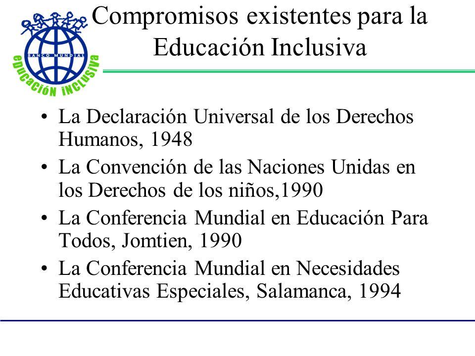 Compromisos existentes para la Educación Inclusiva La Declaración Universal de los Derechos Humanos, 1948 La Convención de las Naciones Unidas en los Derechos de los niños,1990 La Conferencia Mundial en Educación Para Todos, Jomtien, 1990 La Conferencia Mundial en Necesidades Educativas Especiales, Salamanca, 1994
