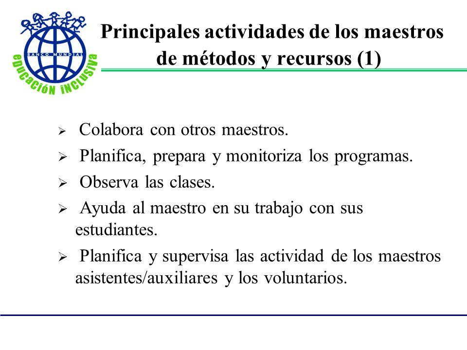 Principales actividades de los maestros de métodos y recursos (1) Colabora con otros maestros. Planifica, prepara y monitoriza los programas. Observa