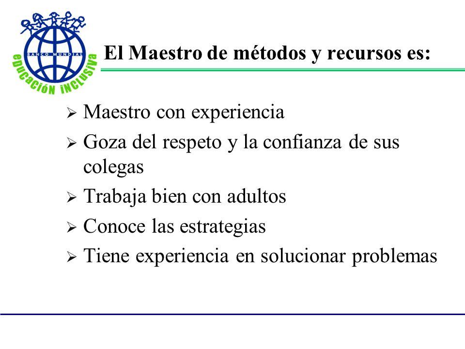 El Maestro de métodos y recursos es: Maestro con experiencia Goza del respeto y la confianza de sus colegas Trabaja bien con adultos Conoce las estrat
