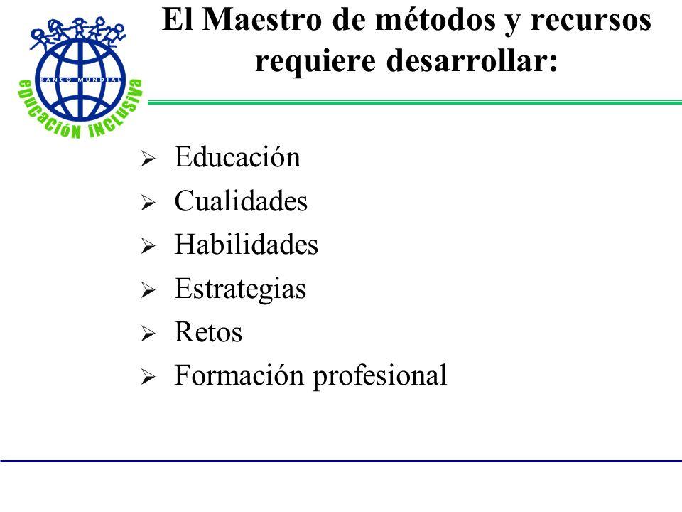 El Maestro de métodos y recursos requiere desarrollar: Educación Cualidades Habilidades Estrategias Retos Formación profesional