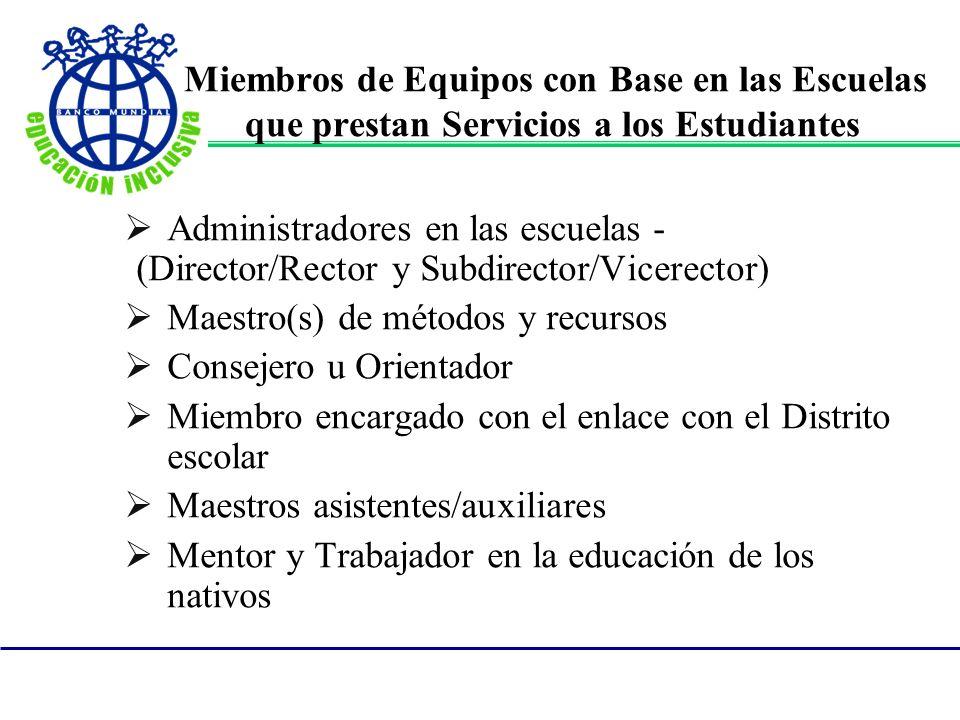 Miembros de Equipos con Base en las Escuelas que prestan Servicios a los Estudiantes Administradores en las escuelas - (Director/Rector y Subdirector/