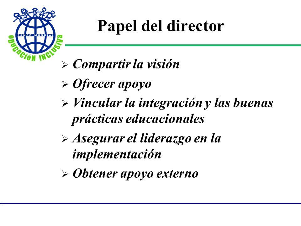 Papel del director Compartir la visión Ofrecer apoyo Vincular la integración y las buenas prácticas educacionales Asegurar el liderazgo en la implemen