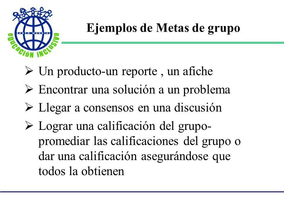 Ejemplos de Metas de grupo Un producto-un reporte, un afiche Encontrar una solución a un problema Llegar a consensos en una discusión Lograr una calif