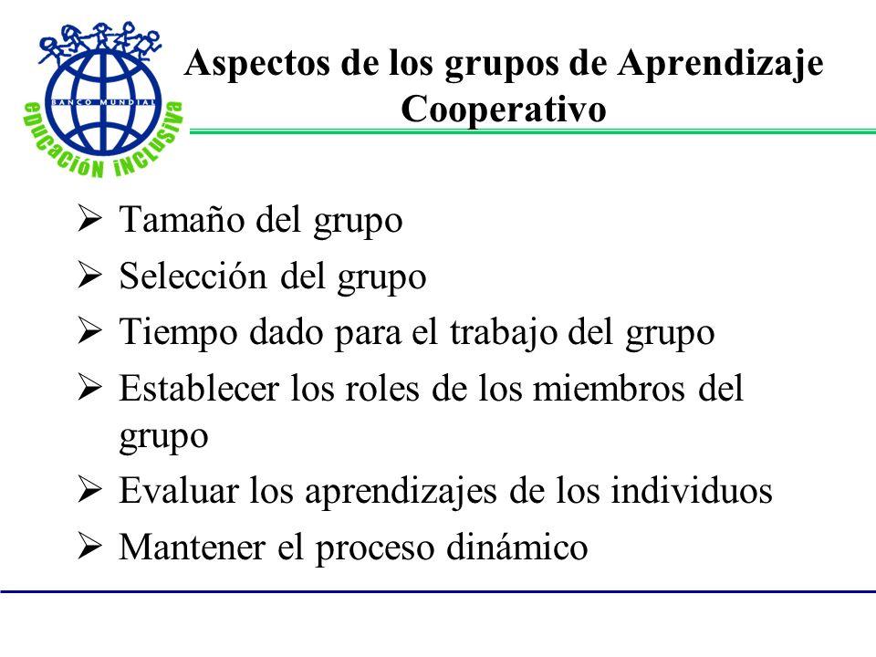 Aspectos de los grupos de Aprendizaje Cooperativo Tamaño del grupo Selección del grupo Tiempo dado para el trabajo del grupo Establecer los roles de l