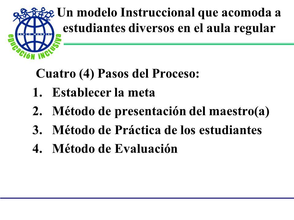 Un modelo Instruccional que acomoda a estudiantes diversos en el aula regular Cuatro (4) Pasos del Proceso: 1.Establecer la meta 2.Método de presentac
