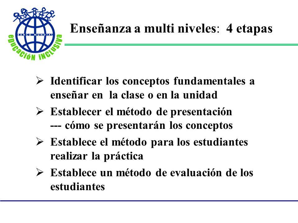 Enseñanza a multi niveles: 4 etapas Identificar los conceptos fundamentales a enseñar en la clase o en la unidad Establecer el método de presentación