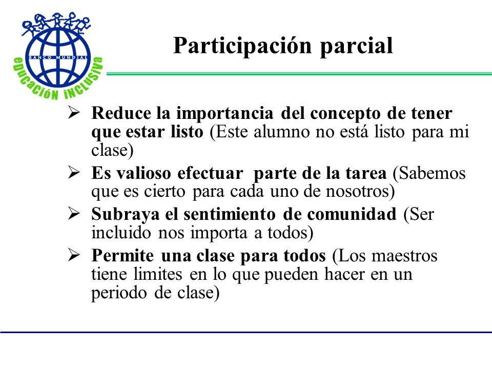 Participación parcial Reduce la importancia del concepto de tener que estar listo (Este alumno no está listo para mi clase) Es valioso efectuar parte