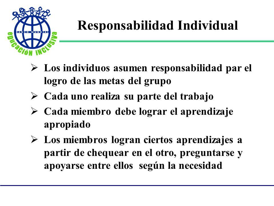 Responsabilidad Individual Los individuos asumen responsabilidad par el logro de las metas del grupo Cada uno realiza su parte del trabajo Cada miembr