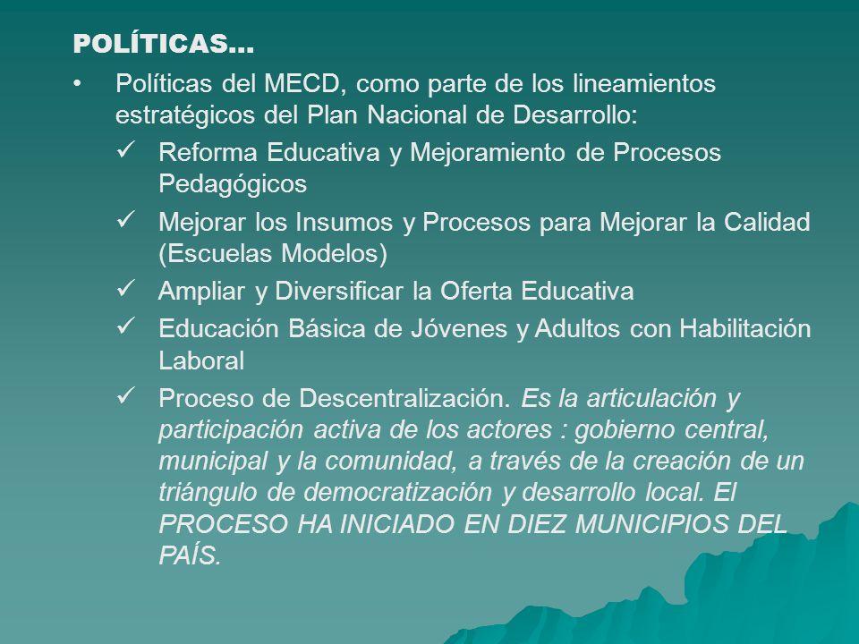 POLÍTICAS PÚBLICAS POLÍTICAS La estrategia Reforzada de Crecimiento Económico para la Reducción de la Pobreza (ERCERP).