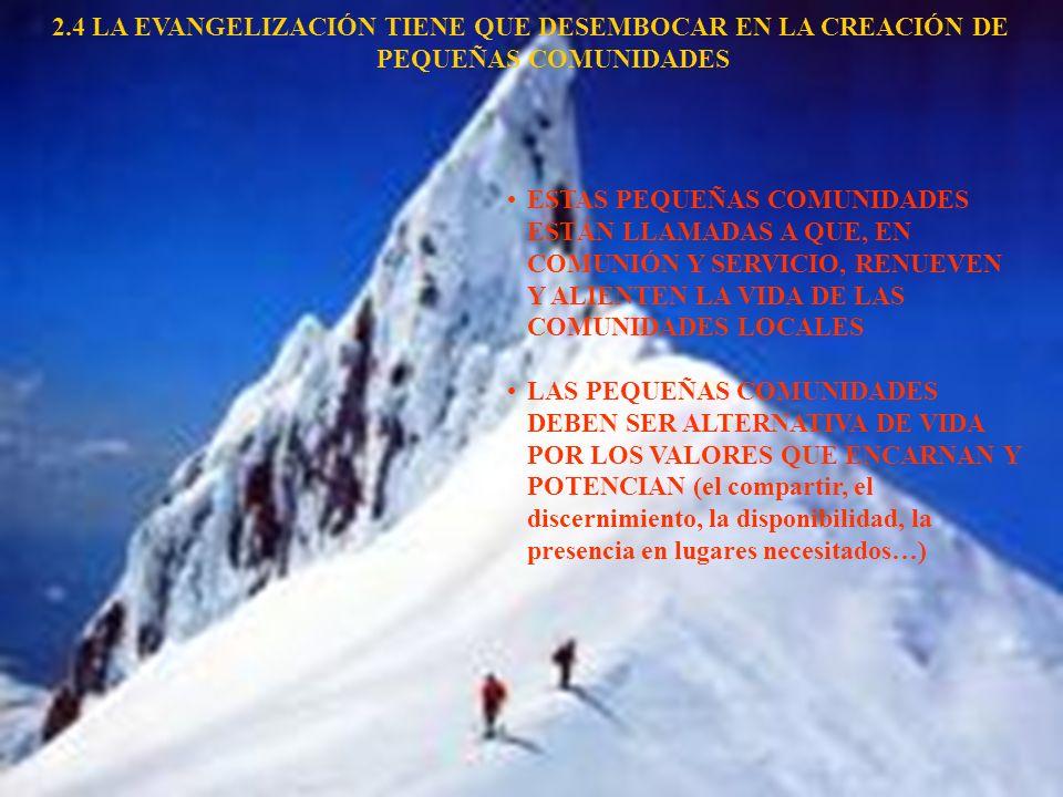 2.4 LA EVANGELIZACIÓN TIENE QUE DESEMBOCAR EN LA CREACIÓN DE PEQUEÑAS COMUNIDADES ESTAS PEQUEÑAS COMUNIDADES ESTÁN LLAMADAS A QUE, EN COMUNIÓN Y SERVI