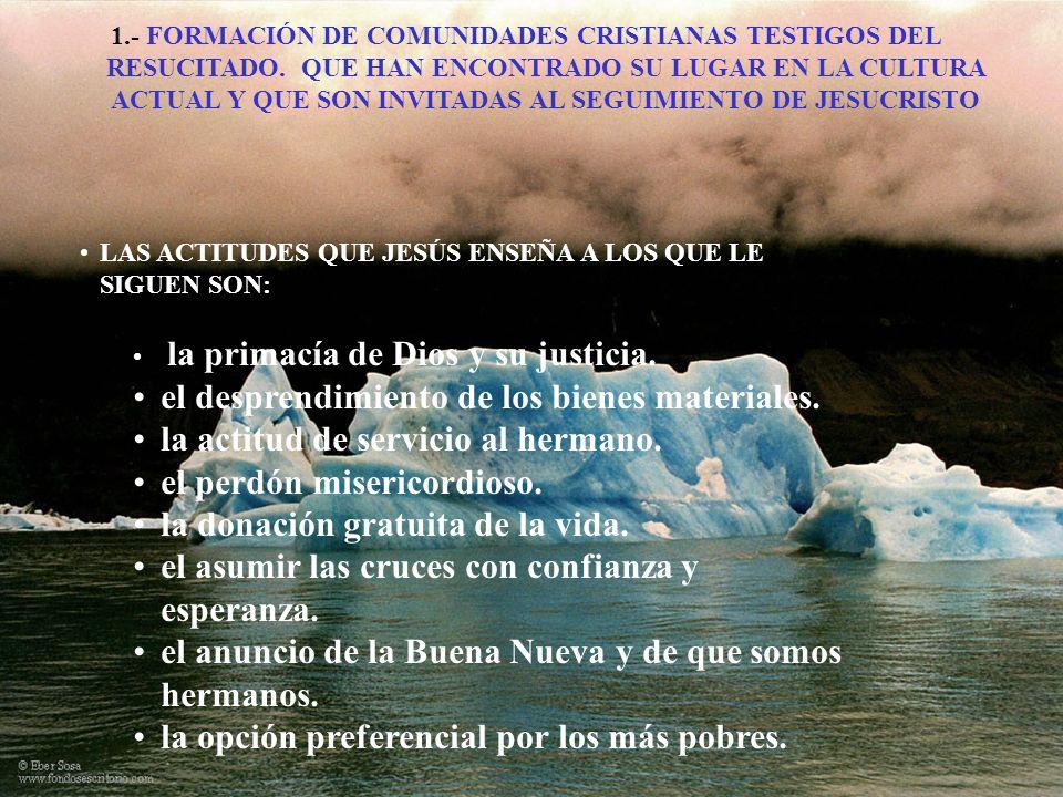 1.- FORMACIÓN DE COMUNIDADES CRISTIANAS TESTIGOS DEL RESUCITADO. QUE HAN ENCONTRADO SU LUGAR EN LA CULTURA ACTUAL Y QUE SON INVITADAS AL SEGUIMIENTO D