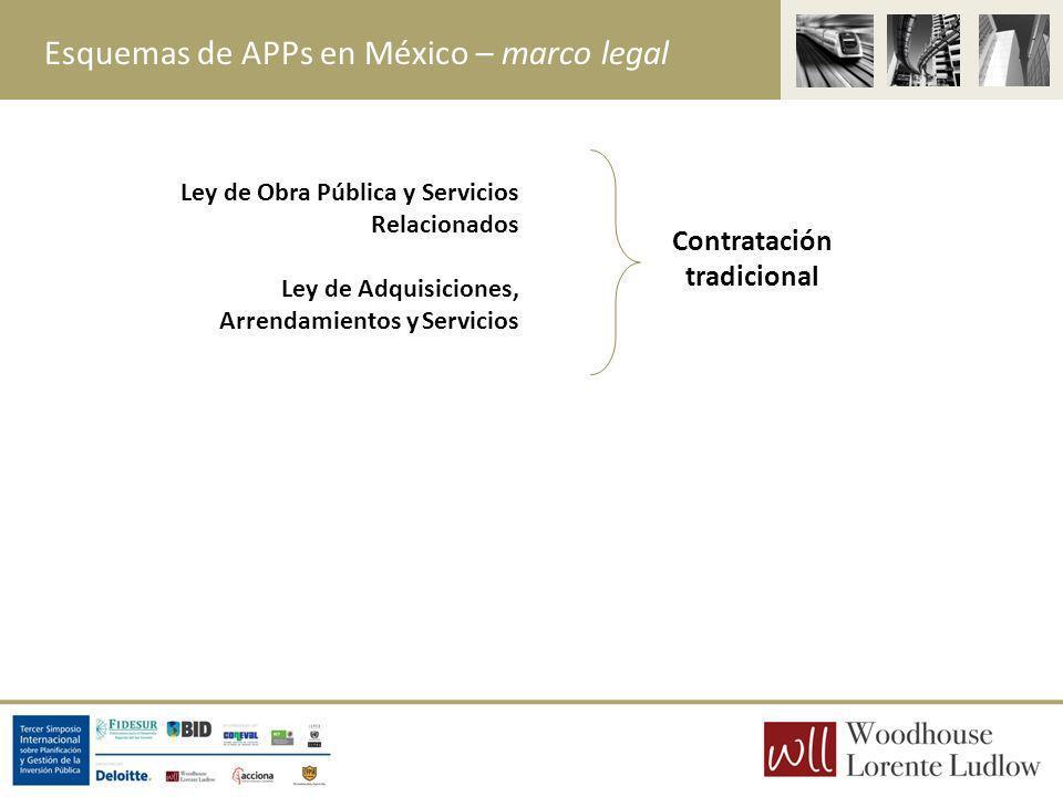 Esquemas de APPs en México – marco legal Contratación tradicional Ley de Obra Pública y Servicios Relacionados Ley de Adquisiciones, Arrendamientos y