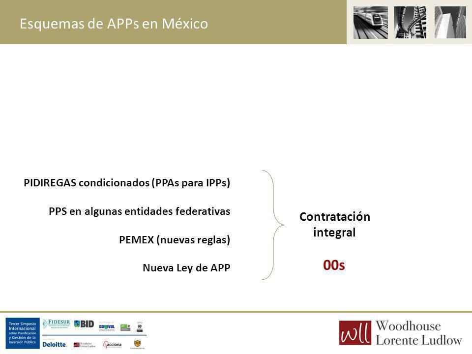 Esquemas de APPs en México Contratación integral PIDIREGAS condicionados (PPAs para IPPs) PPS en algunas entidades federativas PEMEX (nuevas reglas) N