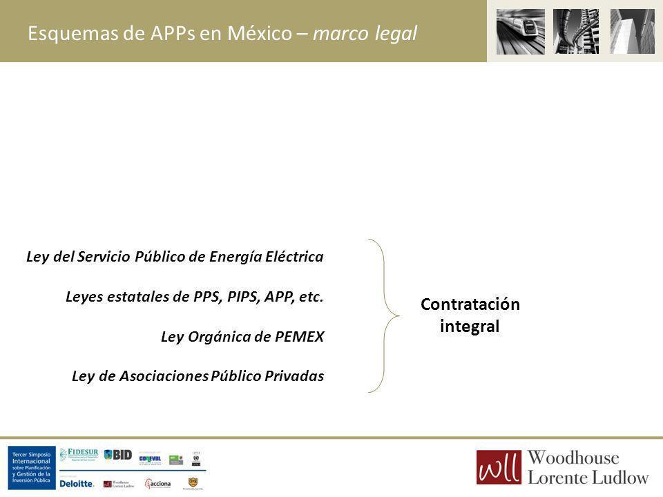 Esquemas de APPs en México – marco legal Contratación integral Ley del Servicio Público de Energía Eléctrica Leyes estatales de PPS, PIPS, APP, etc. L