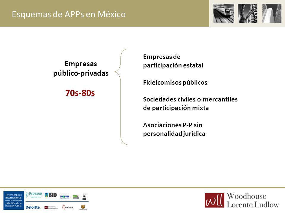 Empresas público-privadas Empresas de participación estatal Fideicomisos públicos Sociedades civiles o mercantiles de participación mixta Asociaciones